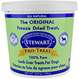 Stewart Freeze Dried Lamb Liver Dog Treats, Grain Free, All Natural, Made in USA by Pro-Treat, 16.8 oz., Resealable Tub