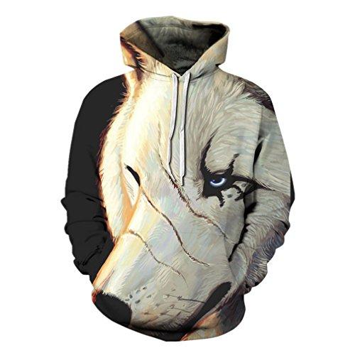 Unisex Wolf Printed Long Sleeve Baseball Jacket Hoodie Causal Tops