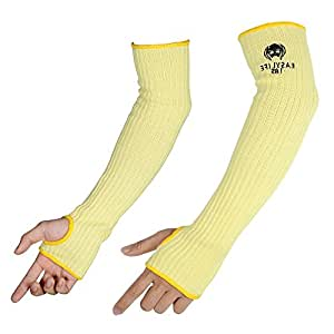 2PACK(1Pair) 100% Kevlar Arm Protection Cut Resistant Sleeves Knit Sleeve 18-Inch Long with Thumb Slot Helps Prevent Scrapes ,Scratches Skin Irritations UV-Protection Yellow
