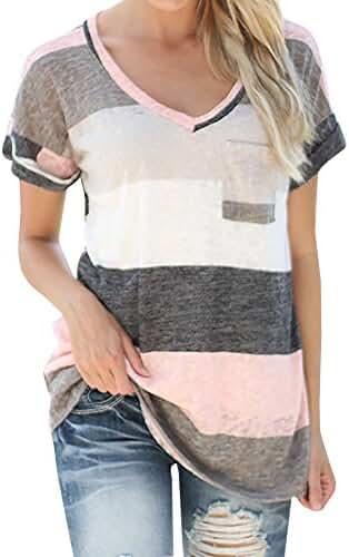 Chellysun Women's V-neck Casual Short Sleeve T-shirt Blouse Tees Tops