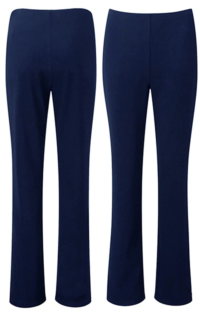 LADIES STRETCH TROUSERS PACK OF 2 BOOTLEG STRETCH TROUSERS BLACK SIZE 8-26