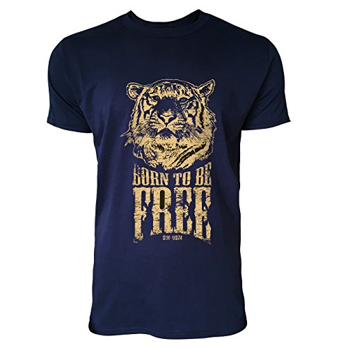 SINUS ART® Born To Be Free Tiger Herren T-Shirts in Navy Blau Fun Shirt mit tollen Aufdruck