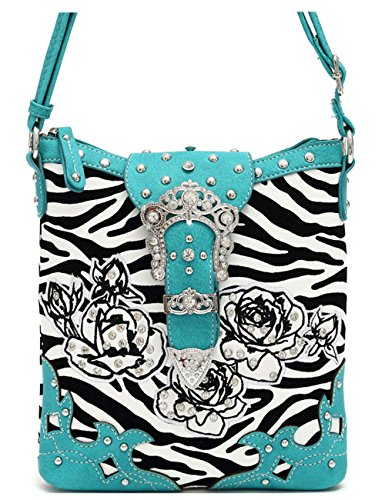 Zebra Rhinestone Belts Buckle Women Cross Body Handbags Western Style Purse Country Single Shoulder Bags - Canvas Belt Zebra
