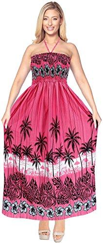 Printed Maxi Tube Dress (La Leela Likre Printed Womens Beach Wear Cover up Maxi Tube Halter Dresses Top Caribbean Long Office Pink)