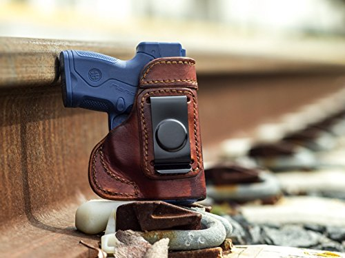 OutBags USA LS3NANO (BROWN-RIGHT) Full Grain Heavy Leather IWB Conceal Carry Gun Holster for Beretta Nano 9mm. Handcrafted in USA.