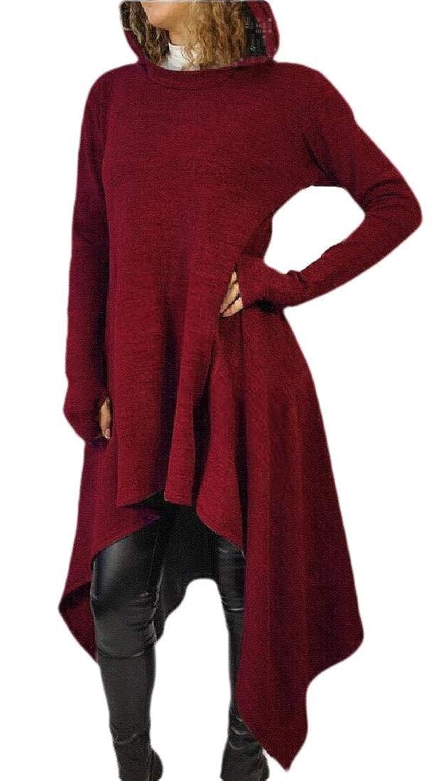 Beloved Womens Sweater Dresses Long Sleeve Hoodies Asymmetric Hem Sweatshirts Tunic Tops