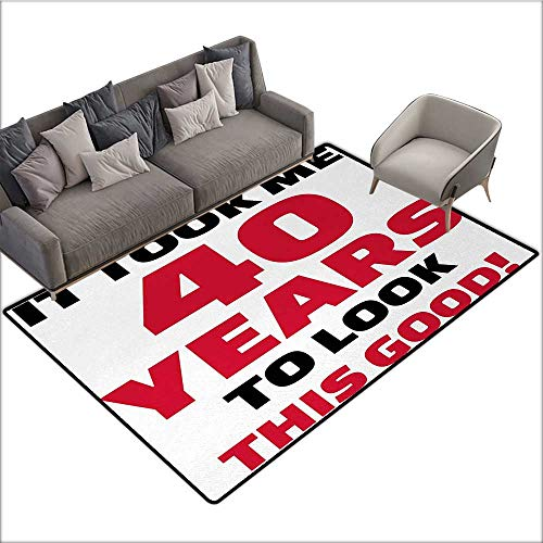 40th Birthday Indoor Floor mat Forty Years and Looking Good Confident Cool Funny Catchphrase 78