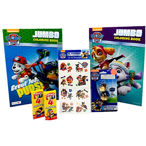 Paw Patrol Jumbo Coloring Book Ready For Action and Great Jobs Pups, 16 Paw Patrol Tattoos, Paw Patrol 3D Puzzle Eraser, 2 Playskool 4pk Crayons
