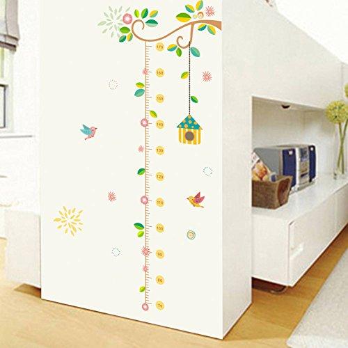 (BIBITIME Kindergarten Classroom Leaves Tree Height Chart Branch hanging Birdhouse Bird Growth Chart for Nursery Bedroom Kids Room Decor DIY Art Mural )