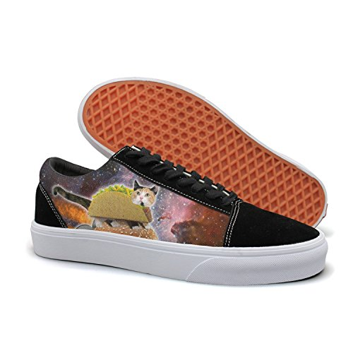 PDAQS Taco And Galaxy Cat Lovers Hamburger Rocket Women Canvas Shoes Oldskoo Skateboard Shoes Low Top