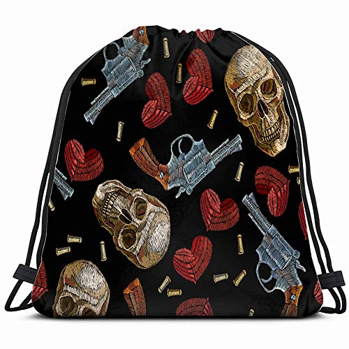 Embroidery Skulls Hearts Guns Animals Wildlife The Arts Drawstring Backpack Sports Gym Bag For Women Men Children Large Size With Zipper And Water Bottle Mesh Pockets ()