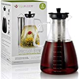 Teabloom Precision All-Brew Beverage Maker – Extra Large Stovetop Safe Glass Teapot / Coffee Maker - 68 OZ / 2.0 L – For Hot / Iced Tea, Cold Brew Coffee, & Fruit Infused Water – 2 Free Blooming Teas