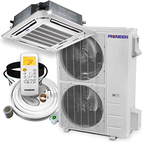 Pioneer Ceiling Cassette Split Ductless Inverter+ Heat Pump System Set, 48000 BTU