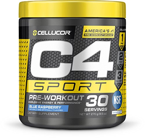 Cellucor C4 Sport Pre Workout Powder Energy Drink, Icy Blue Razz, 30 Servings - NSF Certified for Sport
