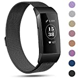 Replacement Compatible Fitbit Charge 3 Bands /Charge3 SE Metal Bands Wristband Accessory Magnetic Breathable Sport Bracelet Strap Small & Large for Women Men Silver Black Rose Gold Blue 10 Colors