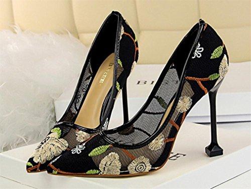 Bride eu40 Princesa Muchachas Zapatos Oficina Clásicas La Partido De Lujo Los Mujeres Tacones Pumps Del Sandalias gold Corte Bordar Señoras Que Las Boda Datan Altos SRw15Onq5U