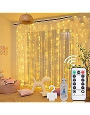 Curtain Lights, 9.8 X 9.8 ft 300 LED Curtain Lights for Bedroom Fairy Lights 8 Lighting Modes Twinkle Lights Curtain String Lights for Bedroom Room Decor Outdoor Indoor Wedding Birthday Christmas