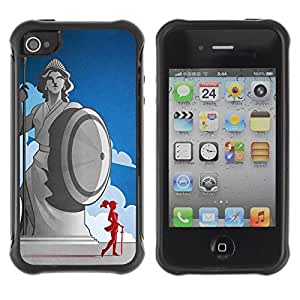 Hybrid Anti-Shock Defend Case for Apple iPhone 4 4S / Cool Ancient Greek Statue