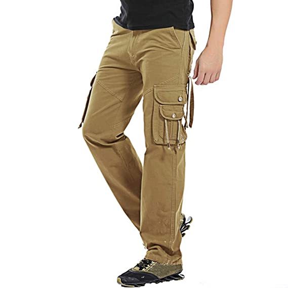 Domple Mens Cotton Outdoor Military Straight Leg Cargo Pants with Multi Pockets