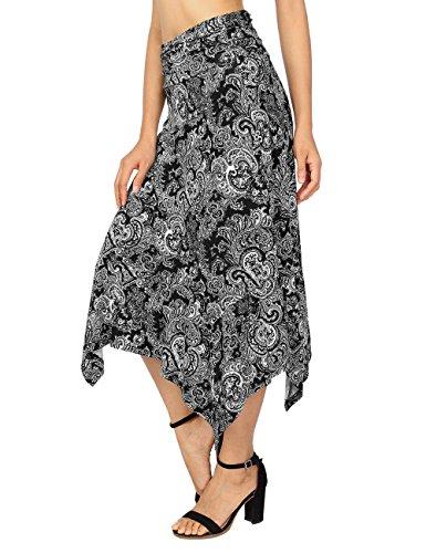 DJT Femme Jupe midi Elastique Casual Uni Asymetrique Longue Maxi Dress Plisse Noir Paisley