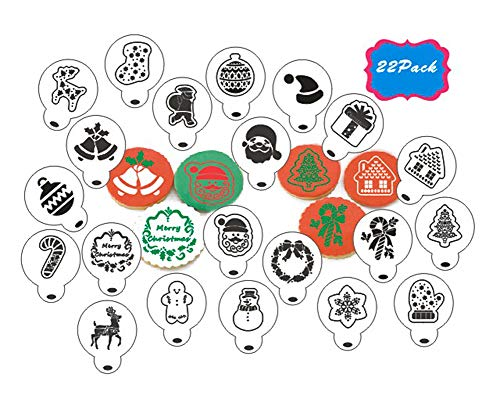 Christmas Cookie Stencils-22PCS Cookie Decoration Tools-Food Decorating Stencils for Cookies- Transparent Cupcake Cookie Coffee Art Template Decorating Stencils for