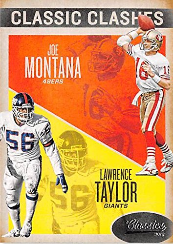 Joe Montana and Lawrence Taylor football card 2016 Classics #19 Clashes Insert Edition (NY Giants Sf 49ers Hall of Famers)