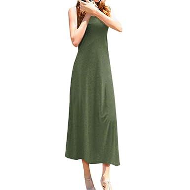 bfa0637c1db Casual Tank Dress for Women Round Neck Solid Sleeveless Loose Beach Long  Dresses (S
