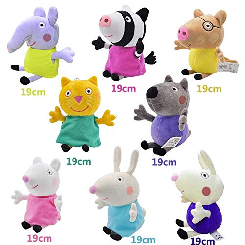 eSunny Brand 4Pcs/Set Stuffed Plush Toy 19/30Cm George Pig Family Party Dolls Christmas New Year Gift for Girl Thing You Must Have The Favourite Anime Superhero Cupcake ()