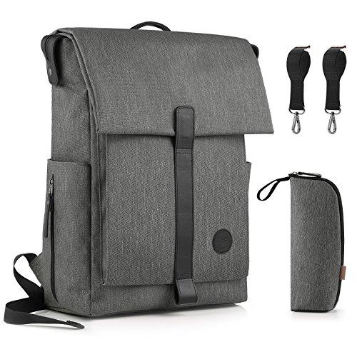 Gagaku grande pañales mochila para Dad Edición Actualizada Para Pañales Bolsa con 15bolsillos–Calentador, color gris
