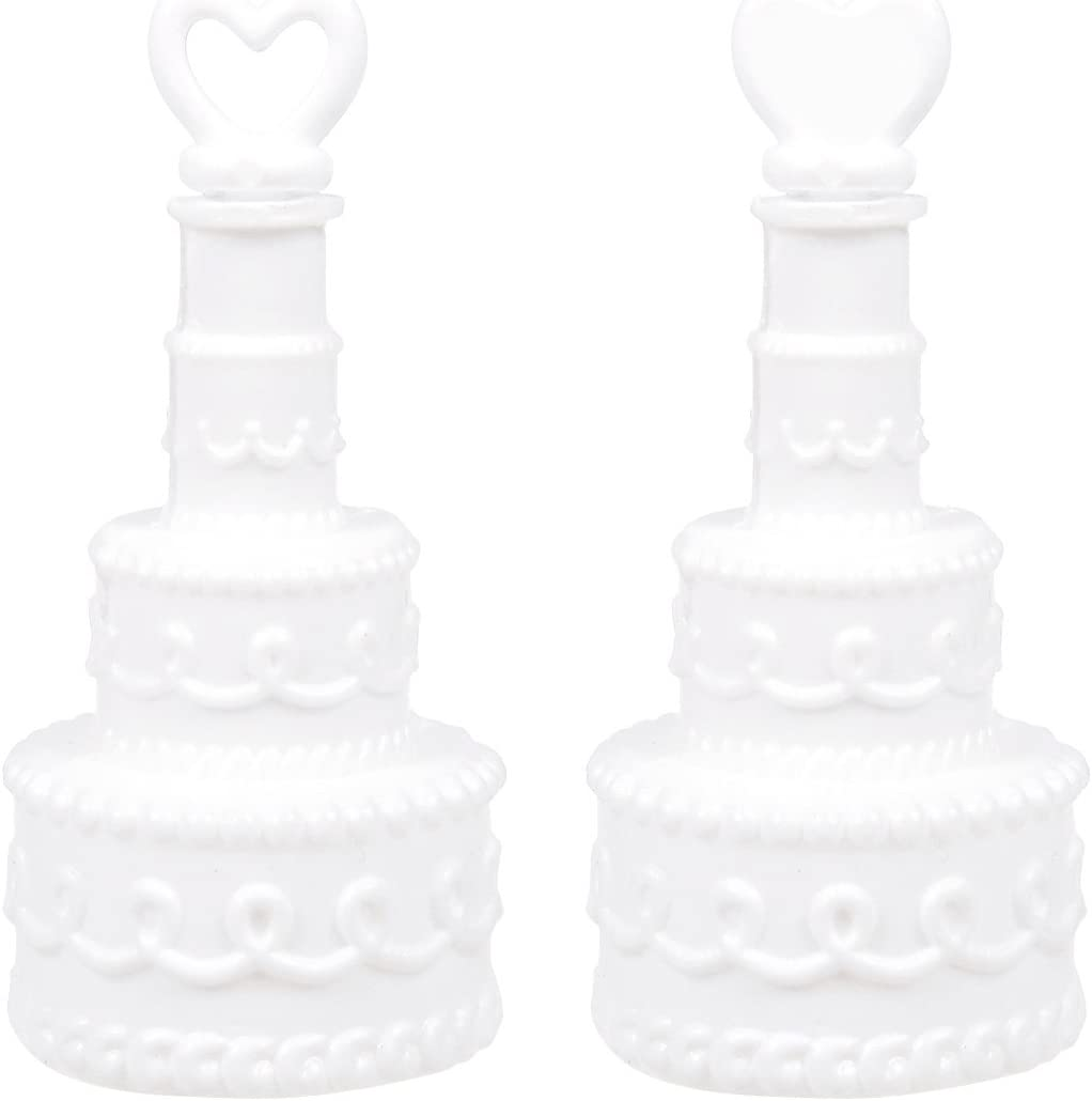 144 WEDDING CAKE BUBBLES White Double Heart Bridal Party Favor Free Shipping