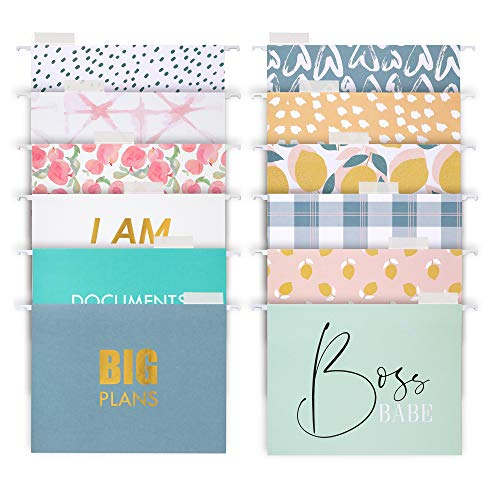 Decorative Hanging File Folders - 12 Letter Size Reinforced Colored Hang Folders, 1/5-Cut Adjustable Tabs - Cute Designs and Gold foil Font, Office Supplies Filing Organizers, 8.5 x 11 Inches