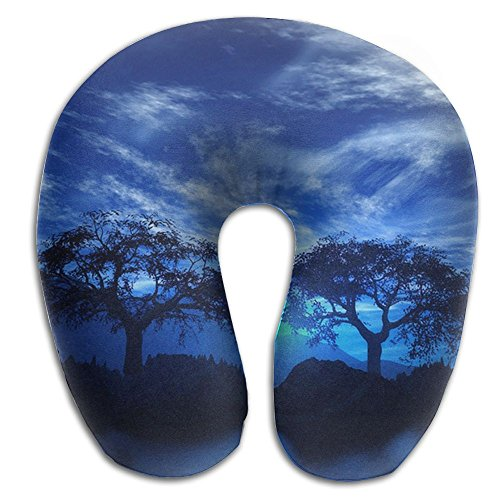 Neck Pillow Moon Lakes Island Landscape Travel U-Shaped Pillow Soft Memory Neck Support for Train Airplane Sleeping -