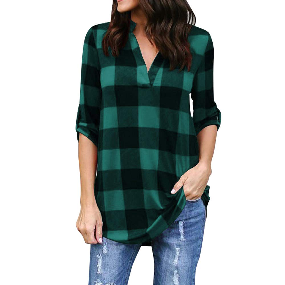 Shusuen ✥ Spring 2019 Women Roll-up 3/4 Sleeve Tops Plaid V Neck Office Work Blouse Leisure T-Shirts by Shusuen