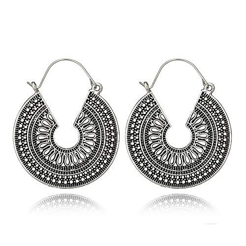 DIDA Boho Bali Tribal Style Filigree Crescent Round Flat Shaped Large Hoop Earrings for Women Gold Plated Metal (Roundness-Silver)