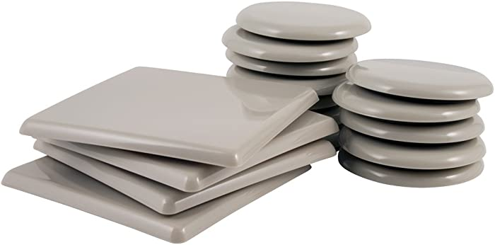 """SuperSliders 4702995N Reusable Furniture Sliders for Carpet Medium & Large Mover Value Pack- 5"""" Square & 3-1/2"""" Round (16 Pieces)"""