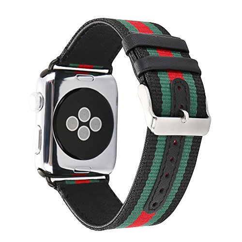 Guigong Compatible Apple Watch Band, Nylon with Genuine Leather Sport Replacement Strap Wrist Band with Metal Adapter for Apple Watch/Sport /Edition (Black 42mm)