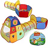 UTEX Jungle Gym Kids Tents w/ Basketball Hoop, Tunnels, Ball Pit for Boys, Girls, Babies, and Toddlers with Zipper Storage Case for Indoor & Outdoor Use (Lion Print)