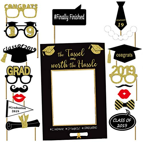 LUOEM Graduation Photo Booth Props Congratulations 2019 Graduation Party Supplies