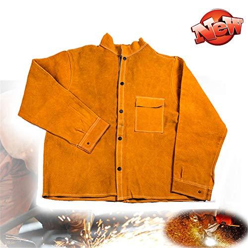 TBDLG Cowhide Leather Welding Jacket,Heat Resistant Work Wear Coat, Multifunctional with Sleeves Used in Industry, Welder, Garden, Carpenter, Workshop, Decoration, Painter, Unisex,XXXL