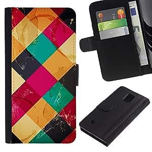 LASTONE PHONE CASE / Lujo Billetera de Cuero Caso del tirón Titular de la tarjeta Flip Carcasa Funda para Samsung Galaxy Note 4 SM-N910 / Colorful Cubes Neon