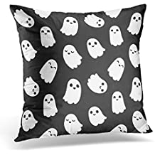 Emvency Throw Pillow Cover White Halloween of Cute Little Cartoon Ghosts on Black Monster Sweet Decorative Pillow Case Home Decor Square 18x18 Inches Pillowcase