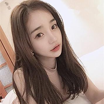Korea Bangs Shoulder Length Wig Girls Minutes Long Straight Hair