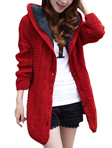 Anermy Women Thick Long Sleeve Single Breasted Hooded Knitted Cardigan Coat Sweater Red