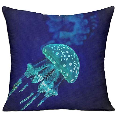 - Square Decorative Cushion Cover Soft Cotton Throw Pillow Case Cover for Sofa Bedroom Home Office Car 18x18 Inch - Turquoise Greeen Under Sea Ocean Jellyfish