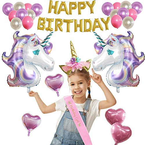 Unicorn Party Supplies Decorations Set For Girls By Woola Boutique - Large Pastel Lavender Mylar Colorful Pink Purple Foil Heart Latex Balloons Gold Letters Banner Headband Pink Sash - Gift (Pink Heart Boutique)