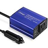 Odoga 150W Car Power Inverter DC 12V to 110V AC Portable & Ultra-compact 3.1A Dual USB - Blue Aluminum Body
