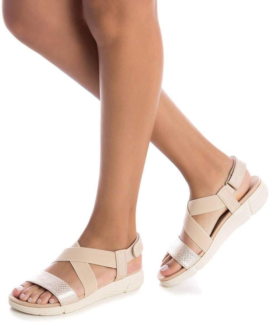 XTI Sandalia con Tira y Velcro Sandalia de Cu/ña para Mujer