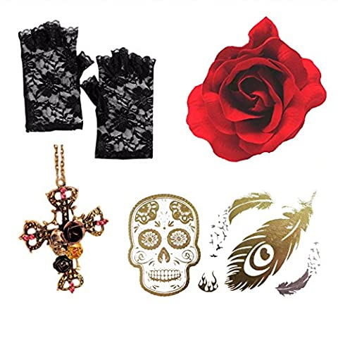 Day Of Dead Gothic Red Rose + Cross Necklace+ Lace Gloves +Sugar Skull Tattoo