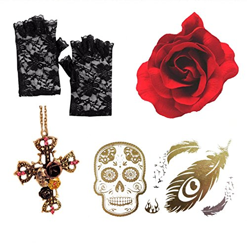 Fingerless Ghostly Lace Gloves (DAY OF DEAD GOTHIC RED ROSE + CROSS NECKLACE+ LACE GLOVES +SUGAR SKULL TATTOO)