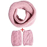 Womens Winter Outfits Set - Thick Knitted Winter Warm Infinity Scarf & Short Women Crochet Boot Cuffs Winter Cable Knit Leg Warmers (OneSize, Light-pink)